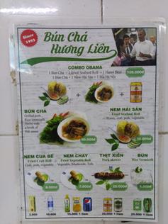 Menu restaurant à Hanoi